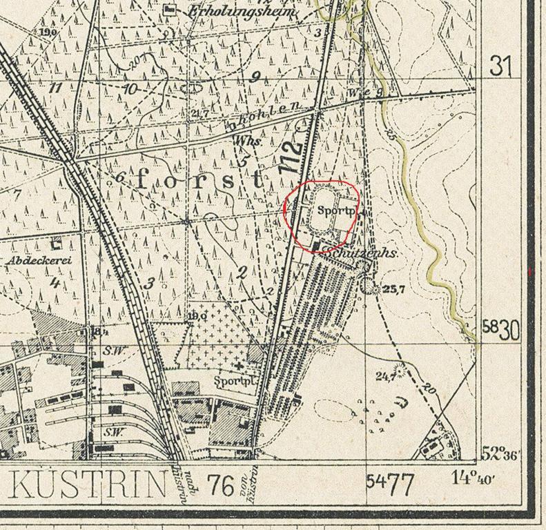 Довоенная карта с расположением стадиона
