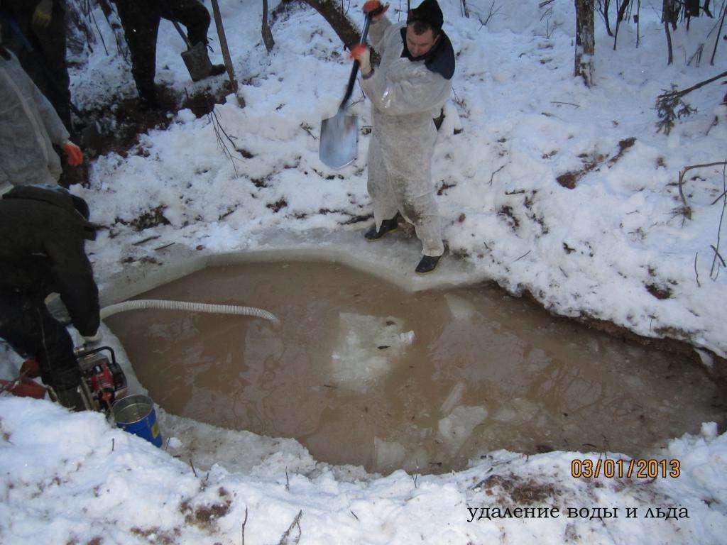 Воды в яме до краев, как мы и предполагали. Распиливаем лед, убираем льдины и, немного повозившись с помпой, начинаем откачку воды