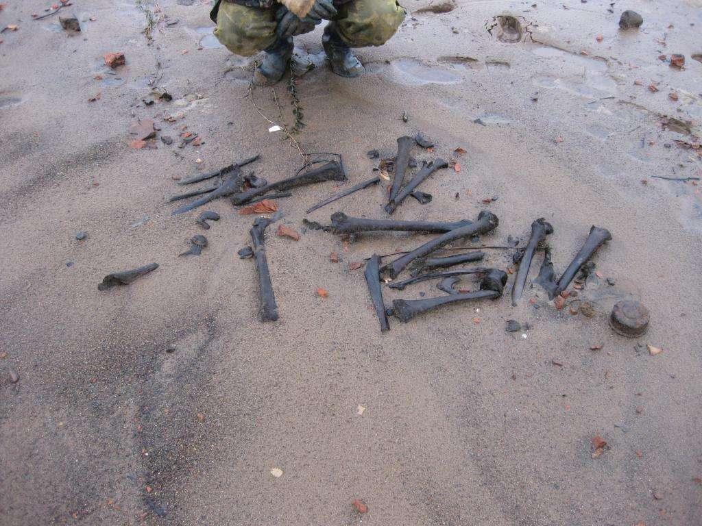 Размытое захоронение советских солдат