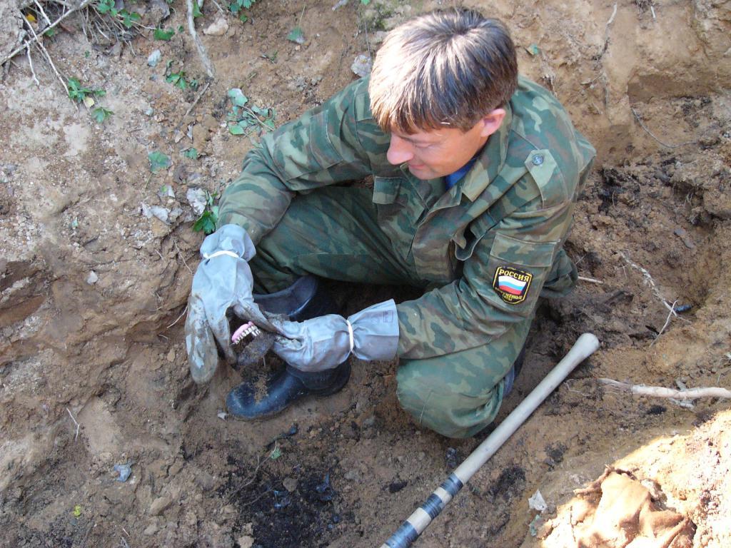 Поисковые работы на месте гибели Н. Михайлова